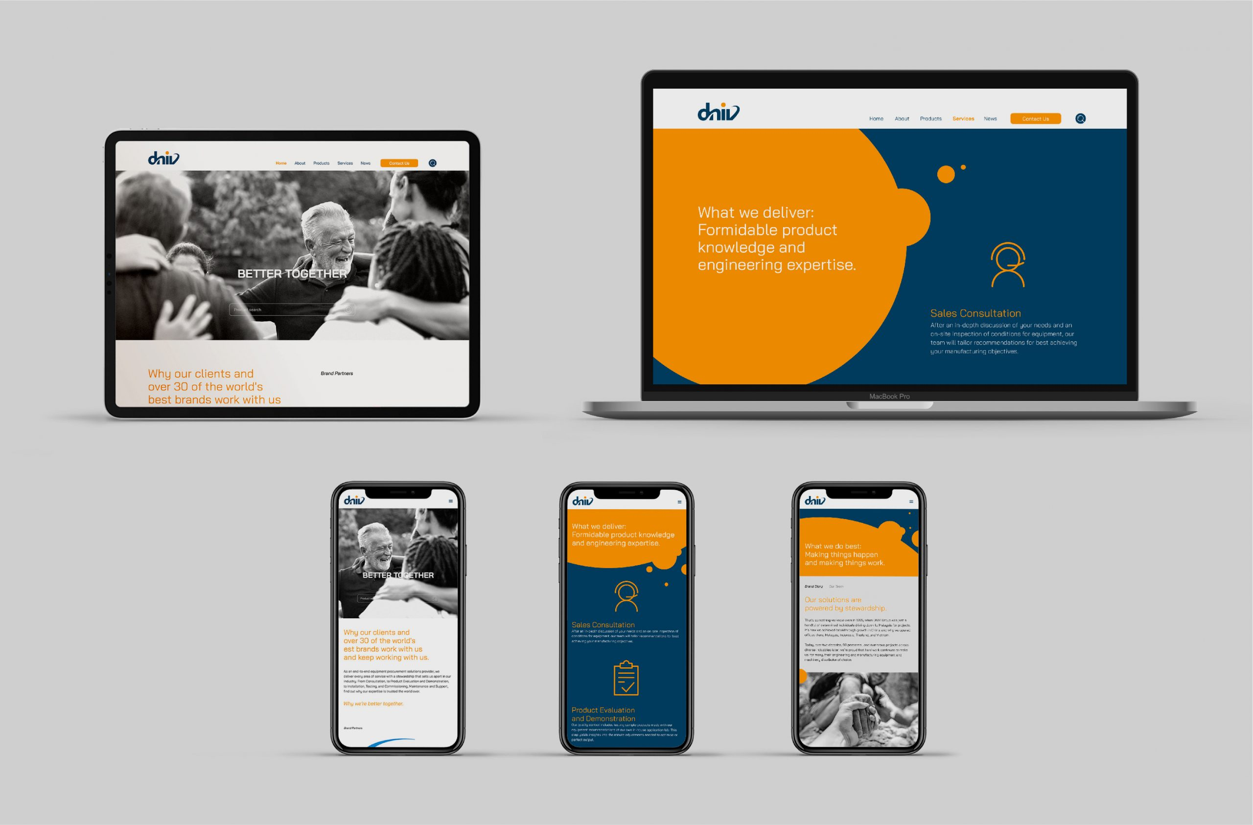 DNIV website on laptop, ipad and mobile