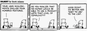 3 column comic strip between 2 guys discussing about user requirements